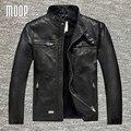 Retro homens do revestimento de pele de carneiro genuína preta jaqueta de couro da motocicleta moto jaquetas chaqueta hombre veste cuir homme lt946 cappotto