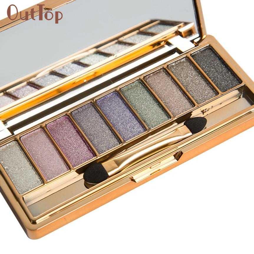 Kecantikan Gadis 9 Warna Shimmer Eyeshadow Palet Pewarna Mata & Makeup Sikat Kosmetik Set Aug5