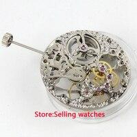 17 Jewels bạc Đầy Đủ Skeleton 6497 Hand Winding phong trào fit parnis xem