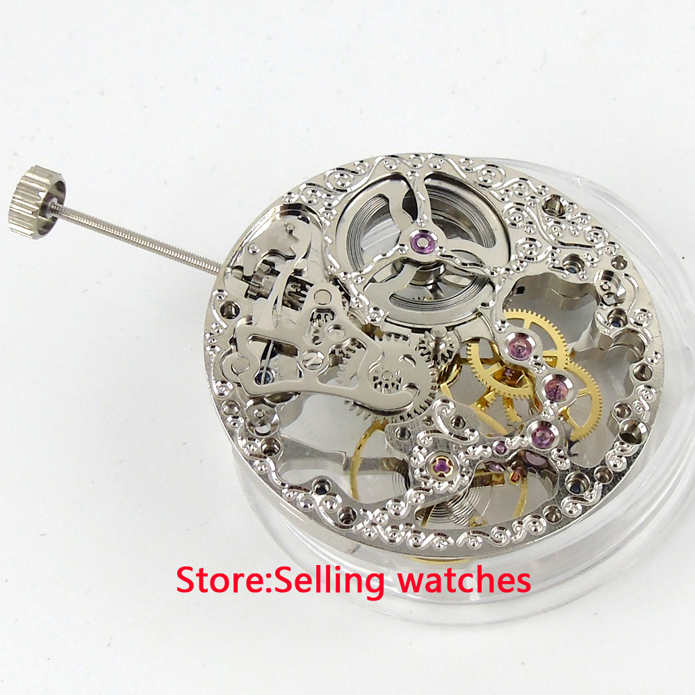 17 Jewels silver Full Skeleton 6497 Hand Winding movement fit parnis watch цена и фото