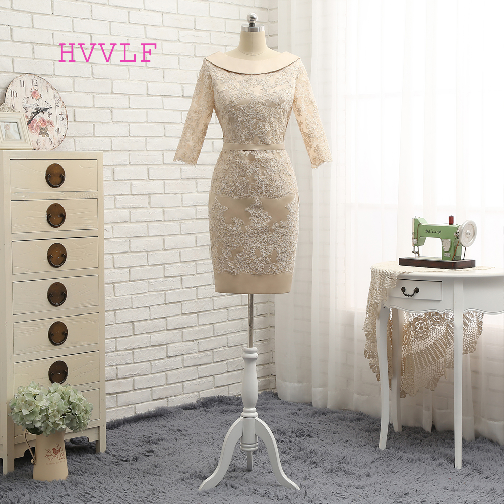 2019 Mother Of The Bride Dresses Sheath Half Sleeves Knee Length Champagne Lace Mother Dresses Evening Dresses For Weddings
