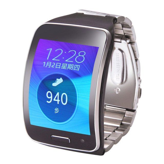V-MORO Adjustable Metallic Replacement Wristband Fitness Bracelet Strap For Samsung Gear S SM-R750 Steel Wrist Band R750