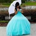 Aqua azul tulle quinceanera vestido de baile estilo decote querida strapleess vestido 15 anos