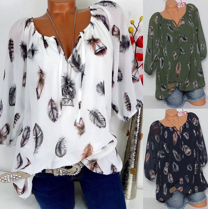 New Women Loose V-neck Chiffon   Blouse   Casual Feather Pattern Tops Beach   Blouses     Shirt   Plus Size