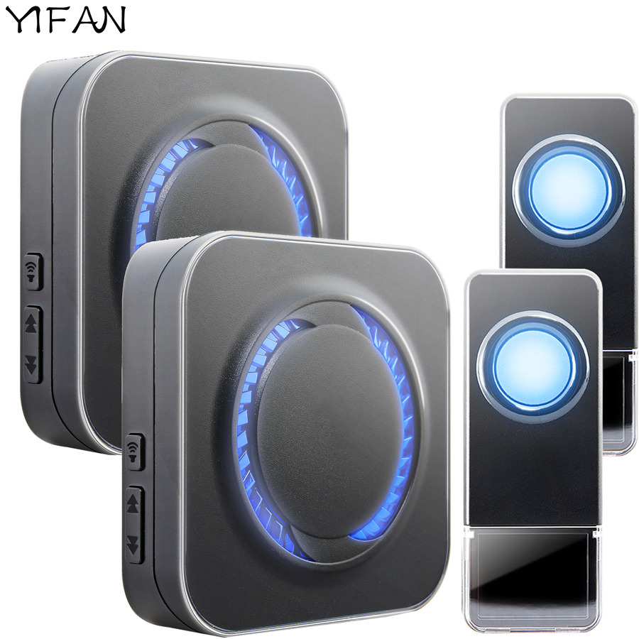YIFAN Waterproof Wireless Doorbell EU Plug 300M long range smart Door Bell Chime ring 2 Transmitter 2 receiver Deaf LED light new restaurant equipment wireless buzzer calling system 25pcs table bell with 4 waiter pager receiver