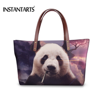 INSTANTARTS Cool Animal Panda Print Women Handbags Fashion Ladies Shopping Tote Shoulder Bag Brand Design Top Handle Travel Bags