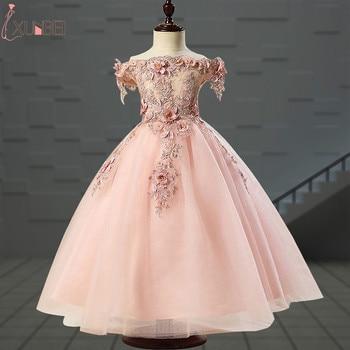 3c19c0aa Милые Платья с цветочным узором для девочек 2019 г., бисерная аппликация,  пышные платья для девочек, платья для первого причастия детские плат.