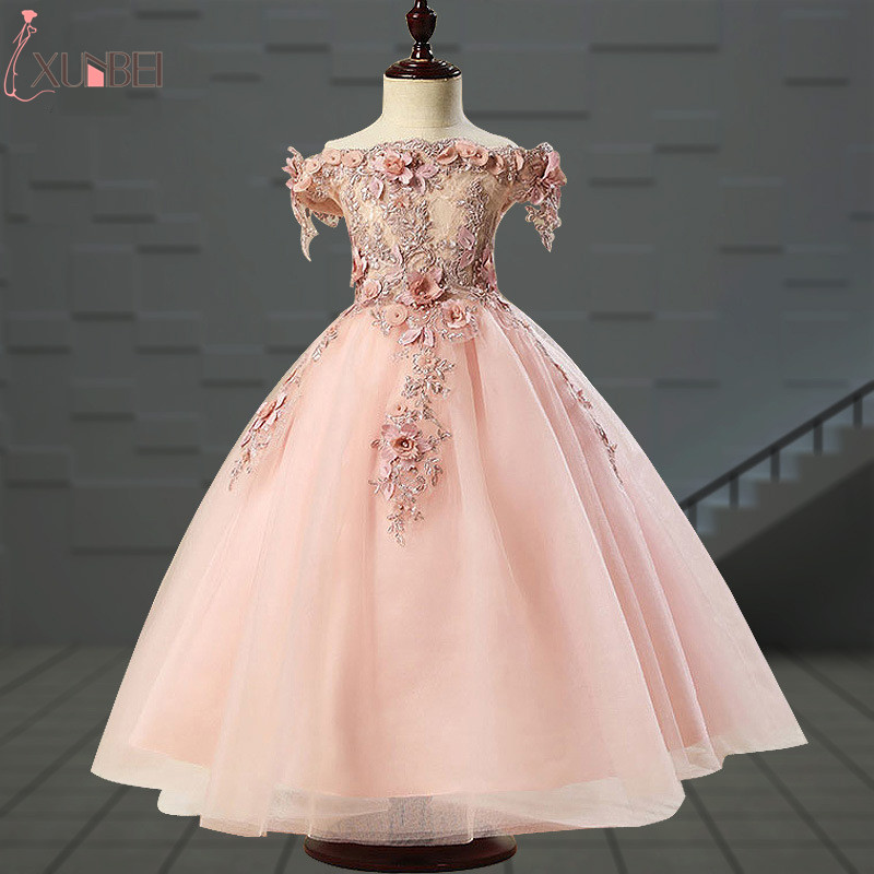 Lovely   Flower     Girl     Dresses   Tulle 2019 Beading Appliqued Pageant   Dresses   For   Girls   First Communion   Dresses   Kids Prom   Dresses