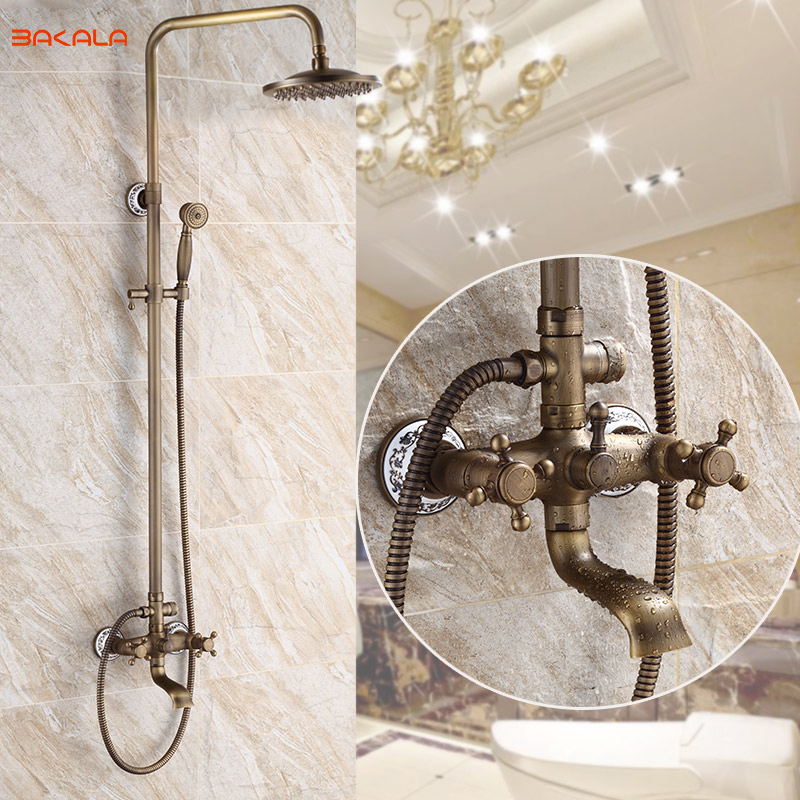 Us 143 46 20 Off Free Shipping Bakala Antique Classic Brass 8 Inch For The Bathroom Chromed Faucets Bathroom Shower Hy 710 In Shower Faucets From