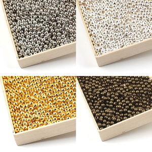 2/2.4/3/4/5/6/8/10mm Gold/Bronze Loose Metal Beads Smooth Spacer Beads For Jewelry Making Round Ball Jewelry Findings Diy