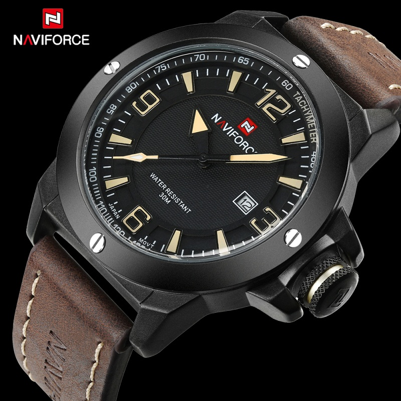 2017 Top Luxury Brand NAVIFORCE Men Sports Watches Military Quartz-watch Date Clock Man Waterproof Wristwatch Relogio Masculino weide watches men luxury brand multiple time zone compass military sports watch men quartz wristwatch clock relogio masculino