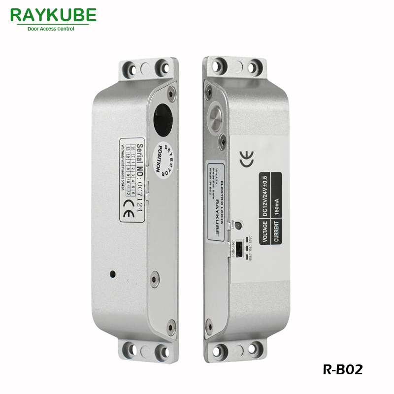 RAYKUBE Electric Bolt Lock For Door Access Control System Electronic Door lock R-B02 glass door lock system good quality electric bolt lock for access control system 12v electric lock glass door lock