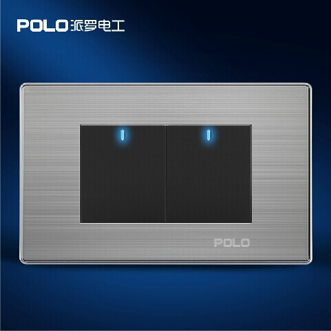 Free Shipping, POLO Luxury Wall Light Switch Panel, 2 Gang 2 Way, Champagne/Black, Push Button LED Switch, 10A, 110~250V, 220V bqlzr dc12 24v black push button switch with connector wire s ot on off fog led light for toyota old style