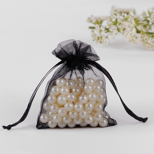 7x9cm Black Organza Jewelry Gift Bags Pouches For Wedding Coffee Beans Bags Pouch Custom Logo Printed 100pcs/lot Wholesale