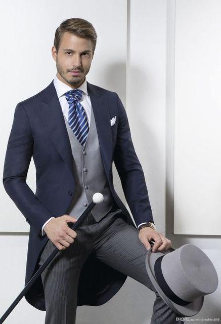 La mañana estilo un botón azul marino novio esmoquin padrinos de boda para hombre trajes de baile del novio ( Jacket + Pants + Vest ) n º : 721