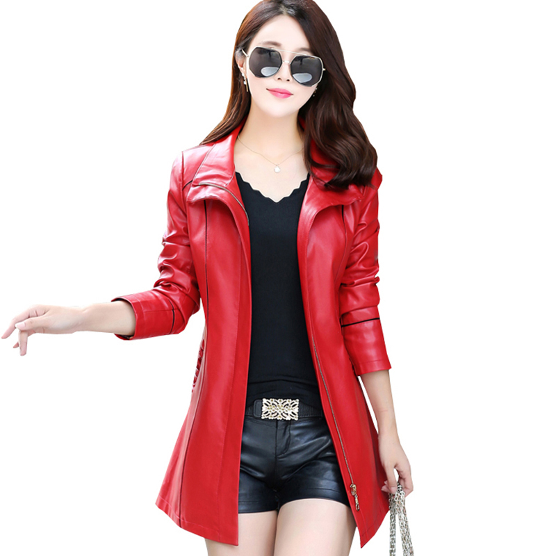 Black Genuine Plus Size Female Pu Red Leather Jacket Winter Windbreak Long Motorcycle Autumn Overcoat Women belt Coats QH0860