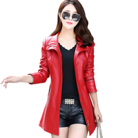 Black Genuine Plus Size Female Pu Red Leather Jacket Winter Windbreak Long Motorcycle Autumn Overcoat Women