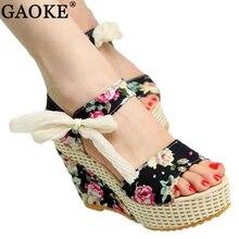 Обувь Для женщин 2018 новые летние милые цветы с открытым носком и пряжкой Босоножки на танкетке цветочный высоком каблуке Обувь Босоножки на платформе