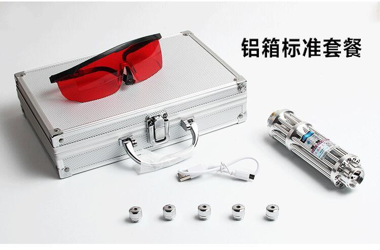 007 USB 500 W 500000 m Lumière Brûlante Match pointeur laser bleu De Charge En Métal coffret inclure le Motif Chapeaux Lazer Torche Chasse