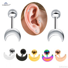 Brinco, 2 pçs/lote 18g 6mm mini piercing de orelha, lua, brincos de haste, aço inoxidável, piercing tragus, hélixe, piercing de cartilagem brinco, brinco
