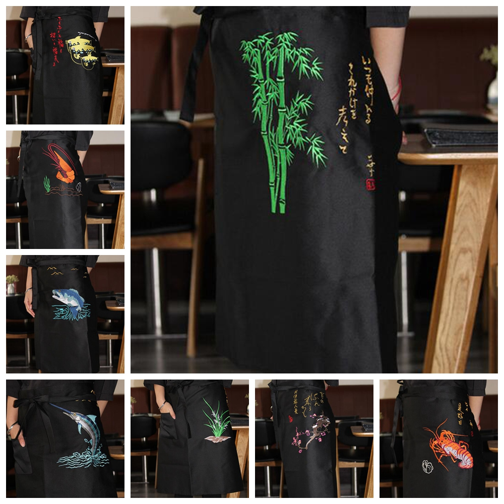 1pcs Sushi Chef Practical Apron Japanese Restaurant Bar Adult Work Uniform High Quality Waist Embroidery Unisex DAJ9292