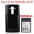 Alta capacidad de 6500 mah reemplazo de la batería li-ion con el caso de vuelta para lg g4 bl-51yf/h818 h815 h818n bateria de la batería del teléfono