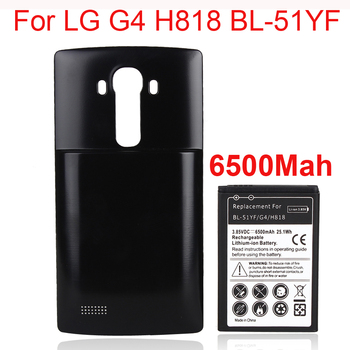High Capacity 6500mAh Replacement Li-ion Battery With Back case For LG G4 BL-51YF/ H818 H815 H818N Phone battery Bateria