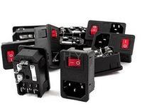 20pcs AC250V 10A IEC 320 C14 Inlet Panel Socket W Fuse W Red Light Rocker Switch