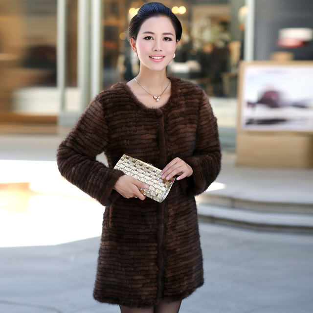 Luxury Winter Women's Natural Knitted Mink Fur Coat O-Neck Lady Warm Overcoat Outerwear Coats VF0325