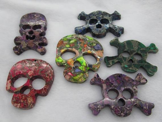 Lager 6 pièces perles malaquita crâne squelette impérial jaspe pierre précieuse pendentif Focal perles en vrac 40-70mm