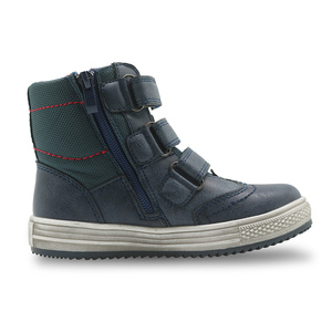 Image 5 - Apakowa/осенне зимние ботинки; Детская обувь из искусственной кожи; Однотонные ботильоны на плоской подошве для мальчиков; Модная детская обувь с поддержкой арки