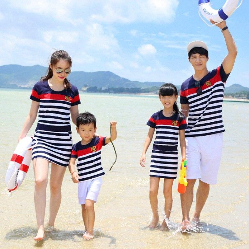 SZivan мать и дочка платья Отца и Сына костюм с коротким рукавом Одежда для всей семьи D118 ...