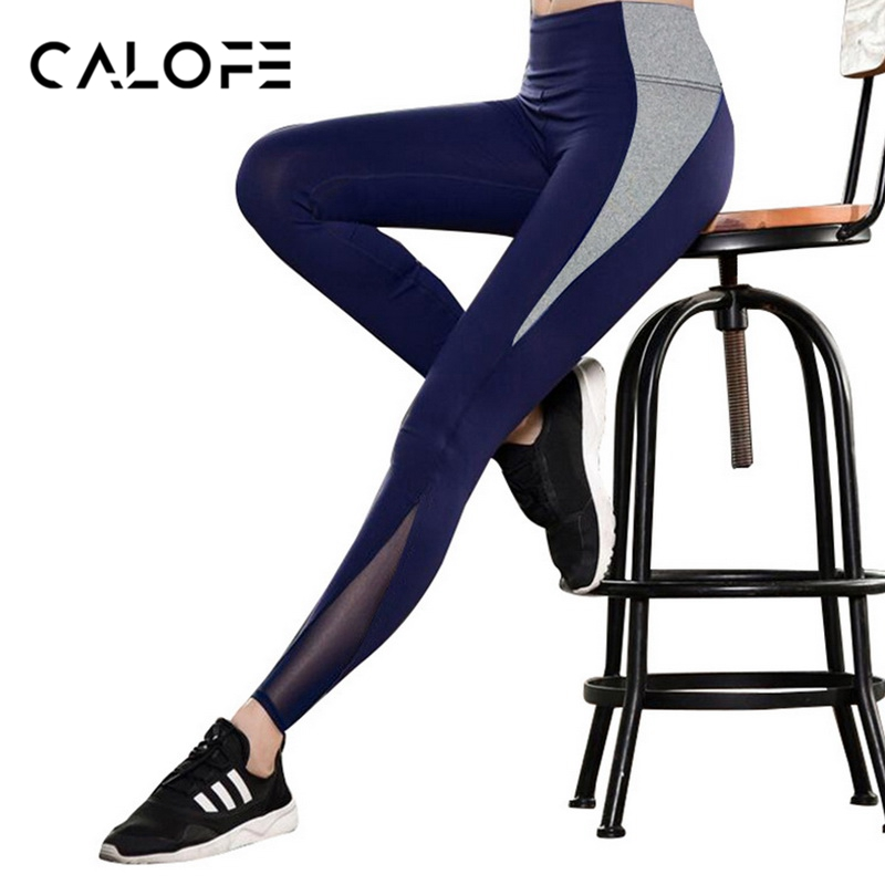 CALOFE Patchwork Running Yoga Pants Women Leisure Sweat Pants Elastic Jogger Pants Fitness Trousers Exercise Quick drying Tight