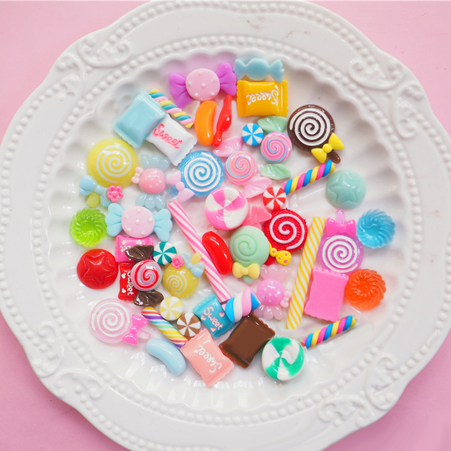 50Pcs Kawaii Funny Cute Resin Sweets Candy Food Slime Charms Ornaments Toys DIY Scrapbooking Crafts Party Home Decor Mix Style ice cream cart toy