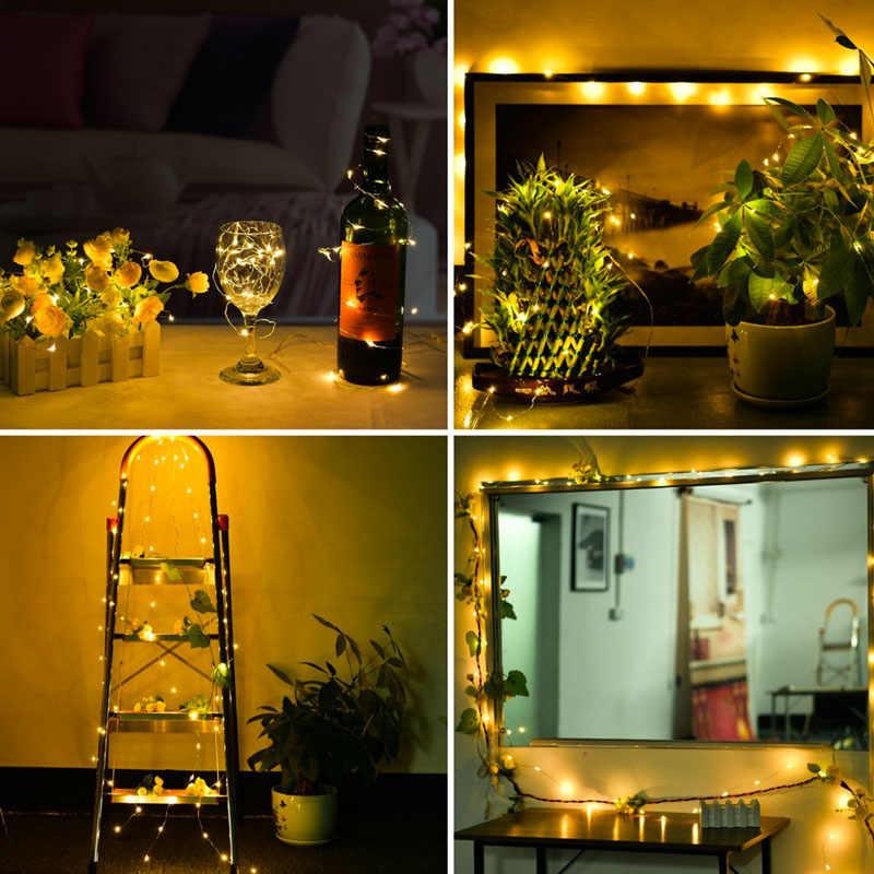 50 100 LED String Lampu 5 V 5 M 10 M USB LED Strip Fairy Kawat Tembaga Outdoor Indoor Lampu dekoratif TV PC Pesta Pernikahan Natal