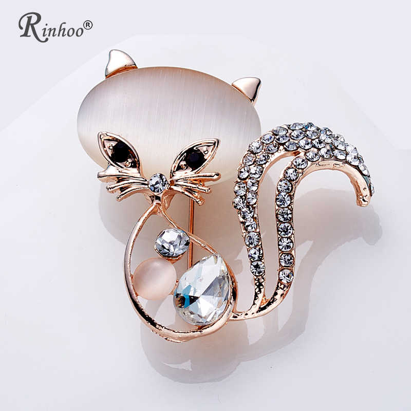 RINHOO Cute Animal Cat Brooch For Women Europe America Fashion Wedding Party Christmas Jewelry Stones Crystal Brooch Pins