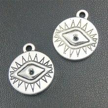 35 шт. Античная серебристого цвета в круглые глаза Подвески DIY Цепочки и ожерелья Браслет Выводы 19x16 мм A1799
