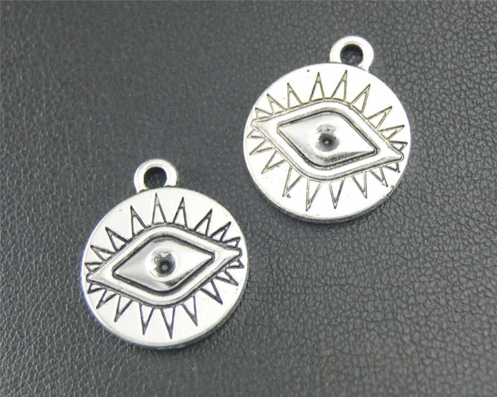 """35 יחידות עתיק רסיס ב את עגול עיני קסם תליון DIY שרשרת צמיד צמיד ממצאי 19x16 מ""""מ A1799"""