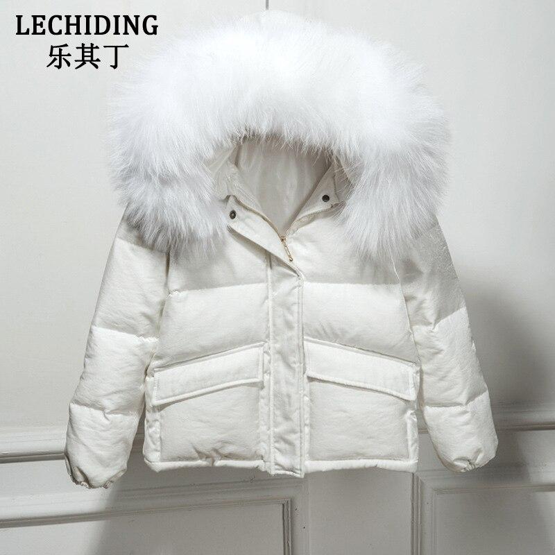 LECHIDING 2017 New Style Velour Down Jacket Women Winter Short White Down Coats Mink Fur Collar Hooded Thick Velvet Coat S-XL цена