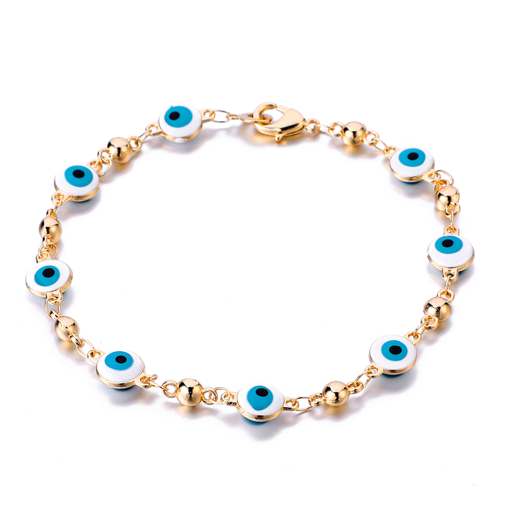 Gold Color Plated Blue Evil Eye Crystal Muslim Charm Islam Bracelets for Women Fashion Jewelry 3 Turkish Blue Eye Bracelet