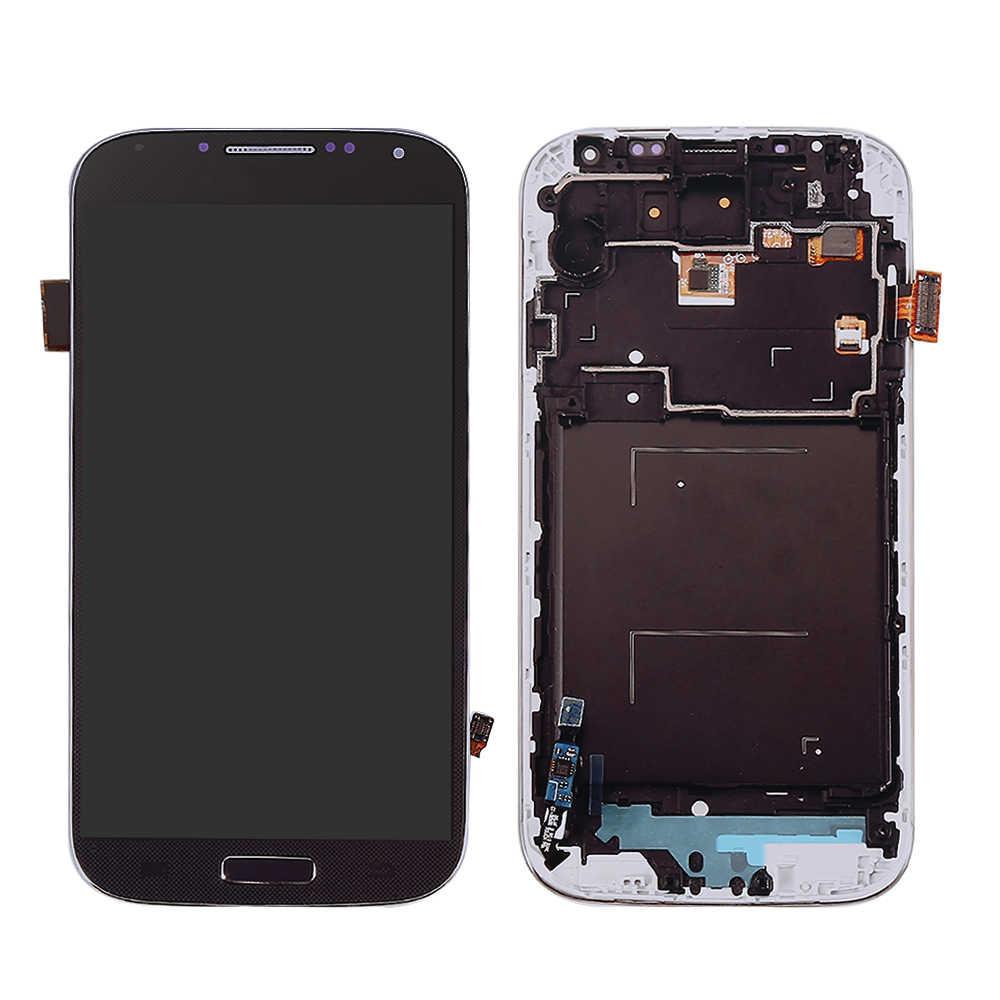 """5 """"ل samsung غالاكسي S4 i9500 شاشة الكريستال السائل محول الأرقام اللمس شاشة قطع تجميع ل samsung s4 i9500 عرض شحذ زر إطار"""