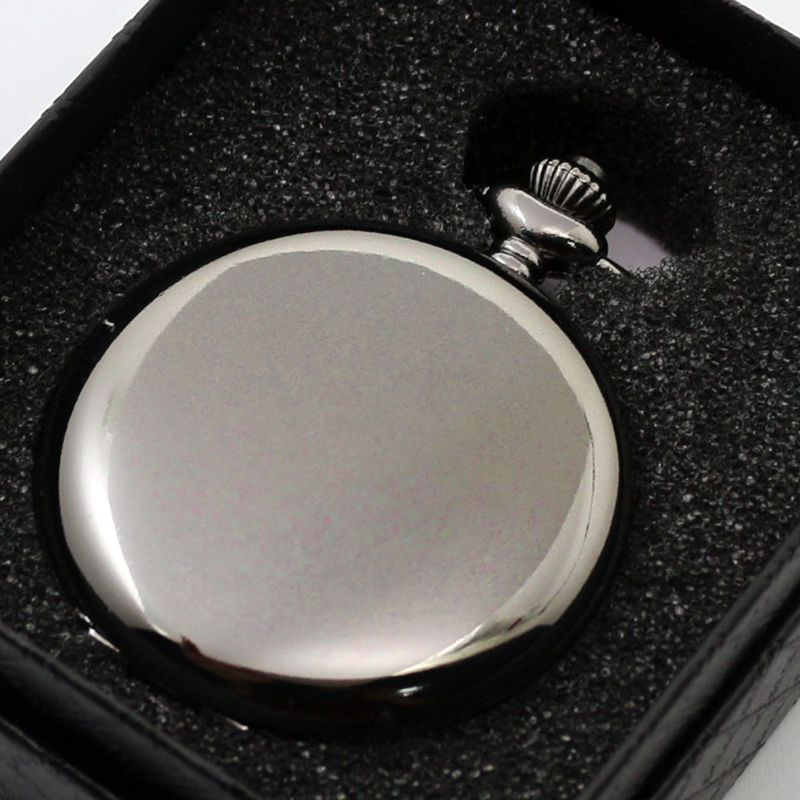 Vintage Black Smooth Steampunk Quartz Pocket Watch Men Women Necklace Pendant Clock Chain With Gift Box Birthday Gifts 2016 aladdin and the magic lamp watch the young men and women fashion quartz pocket watch table birthday gift ds262