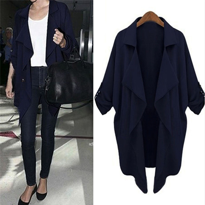 #2533 Women Celebrity Windbreaker Casual Cardigan Tops Outwear Jacket Coat D45