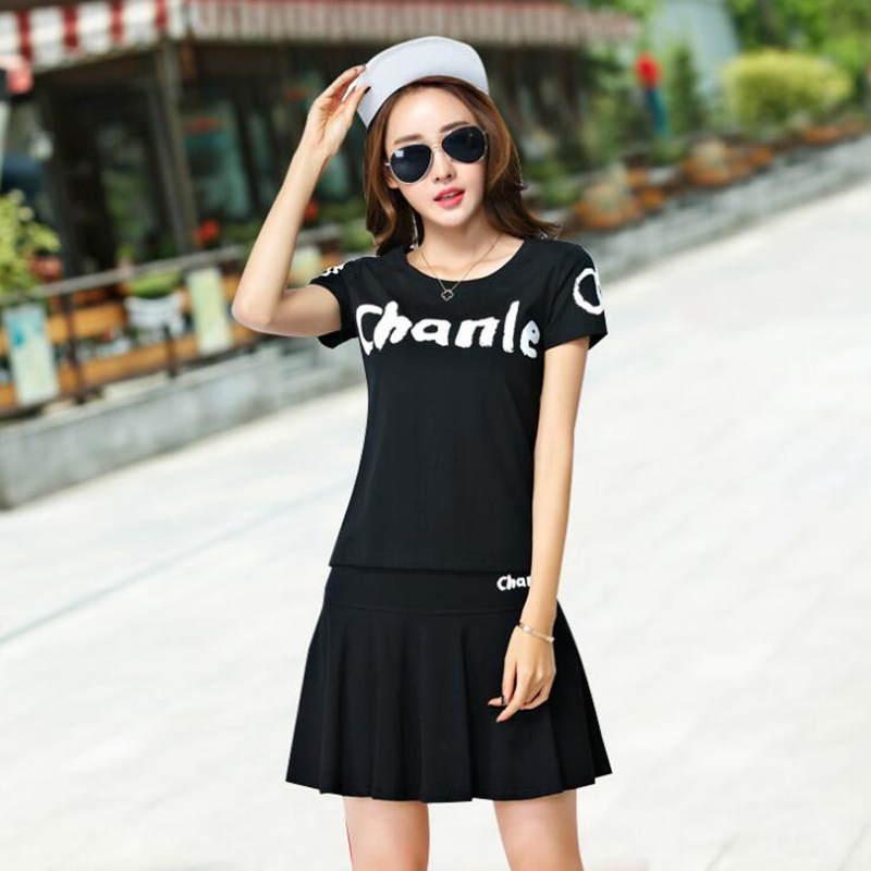 Plus Size 5XL Summer Women Sets Sporting Suit Fashion Letter Printed Short Sleeved T shirts+Skirts 2 Pieces Sets Tracksuits T218