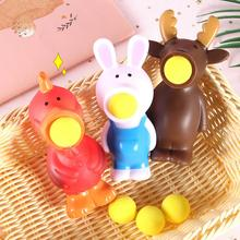 цена на Creative Soft Rabbit Animal Pop out Shoot Ball Anti-Stress Squeeze Kids Toy Gift Soft Sticky Stress Relief Funny Gift Toy