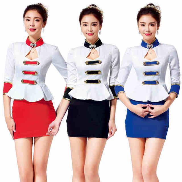Frete grátis novo Design elegante uniforme de trabalho para as mulheres se encaixam Lady escritório terno de saia companhia aérea branco decote em V trabalho veste Plus Size XXL