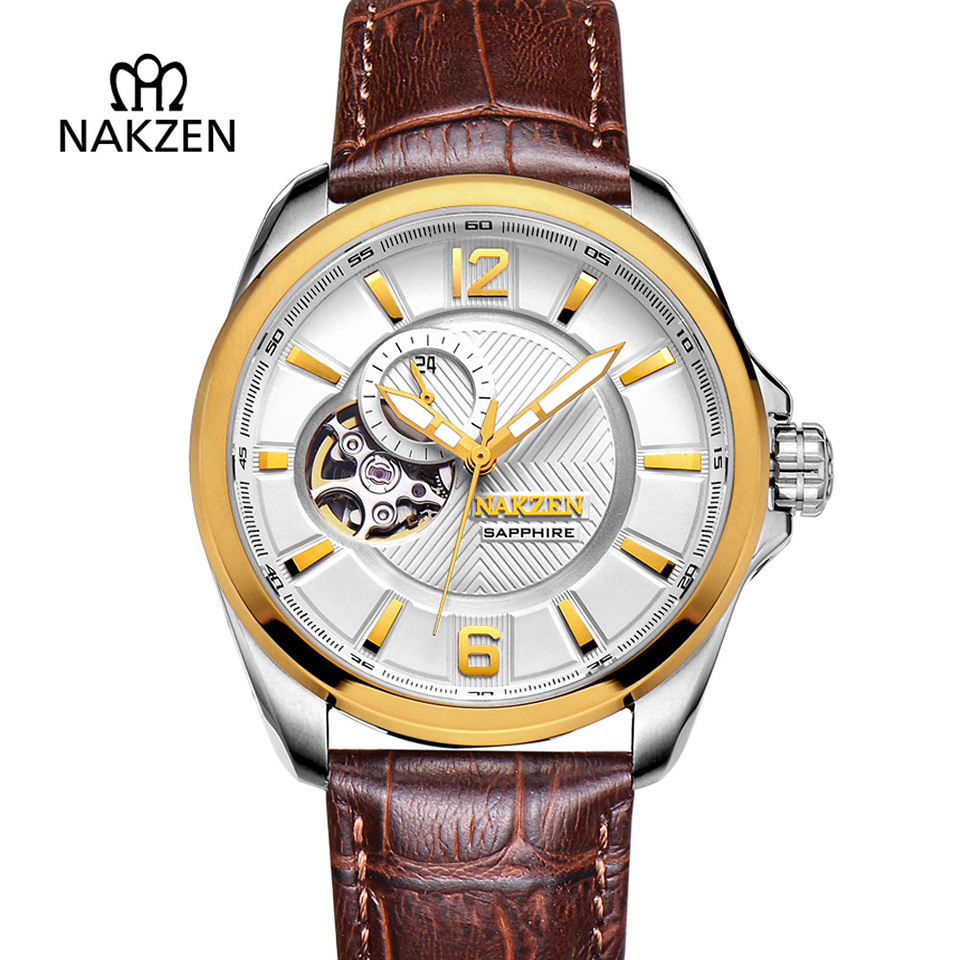 Mens Skeleton Automatic Watch Leather Strap Mechanical Clock For Gents Fashion Sapphire Tourbillon 50M Waterproof Wrist Watches все цены