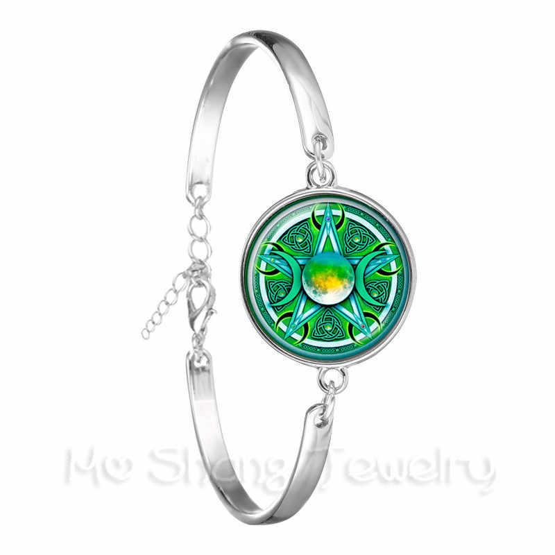 Potrójna bogini księżyca Pentagram Wicca magiczny Amulet talizman kobiety bransoletka tybetański biżuteria w stylu Vintage prezent dla rodziny talizman