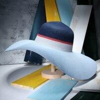 2017 estate nuovo blocco di colore di modo cappelli estivi e parasole grande brim pieghevole sun protection beach cappello chapeau femme de soleil