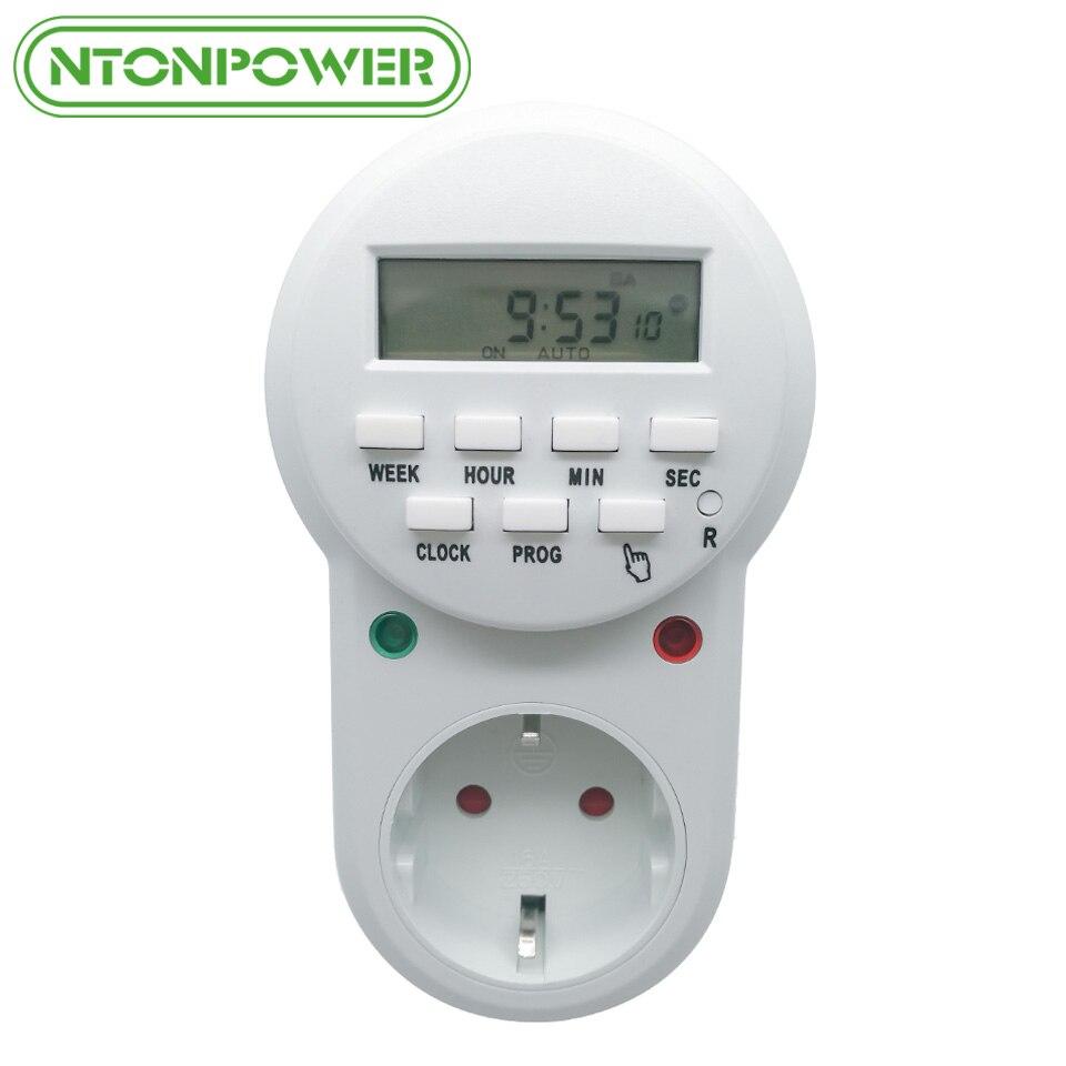 NTONPOWER Smart Power Socket UE Plug Numérique Minuterie Commutateur D'économie D'énergie Réglable Réglage Programmable de Horloge/Sur/Off temps